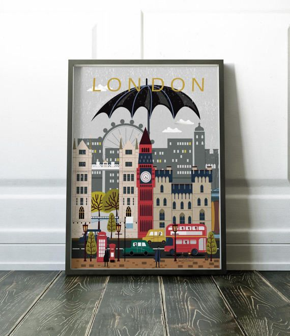 Beau London Wall Art Poster Bold Colourful Modern Print Various Sizes Available
