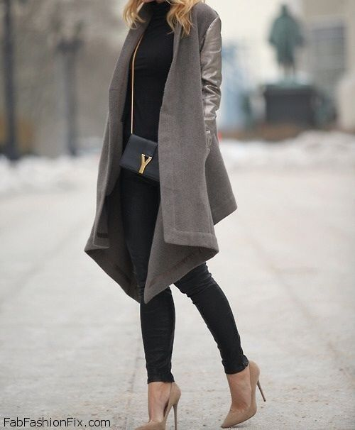 Asymmetric wool cardigan and YSL handbag for chic fall outfit.