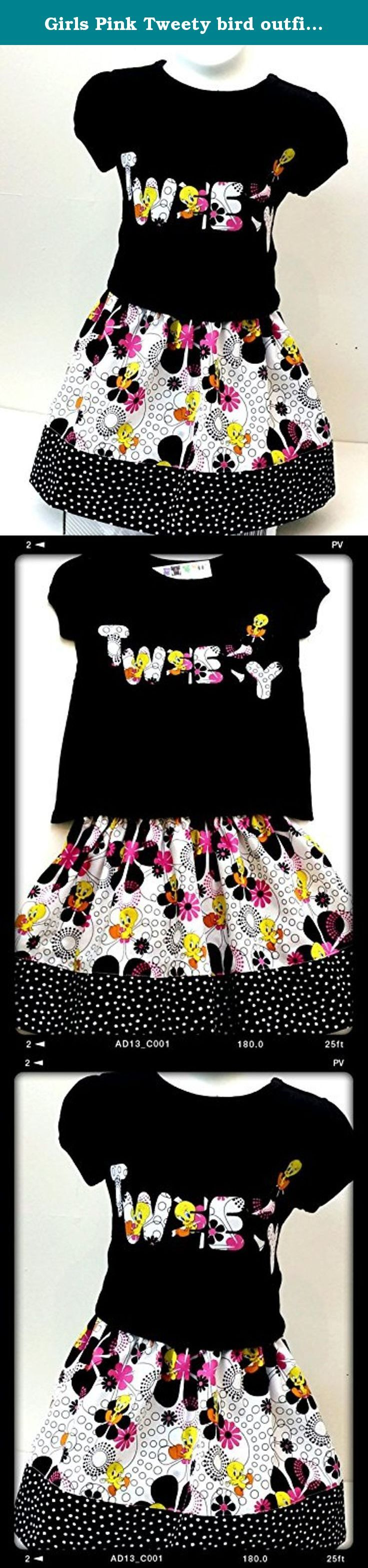 Girls Pink Tweety bird outfit skirt Girl's's Toddler skirt set 2 piece Outfit size 4T. One-of-a kind TWEETY BIRD girl 2-piece outfit, is prefect for the birthday . Set included Short sleeves black shirt with matching elastic waist skirt with hand cut applique in the front of the shirt. Applique was sewn down for durability. YOUR BUSINESS IS VERY IMPORTANT TO US PLEASE BEFORE ANY BAD REVIEW COMMUNICATE WITH ME AND WE CAN WORK THINGS OUT FEEL, FREE TO MESSAGE ME ANYTIME IF YOU HAVE ANY...
