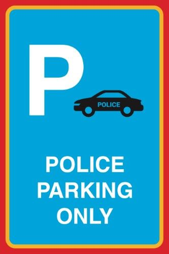Police Parking Only Print Cop Car Picture Parking Lot Street Road Office Business Large 12 x 18 Public Notice Sign Alu