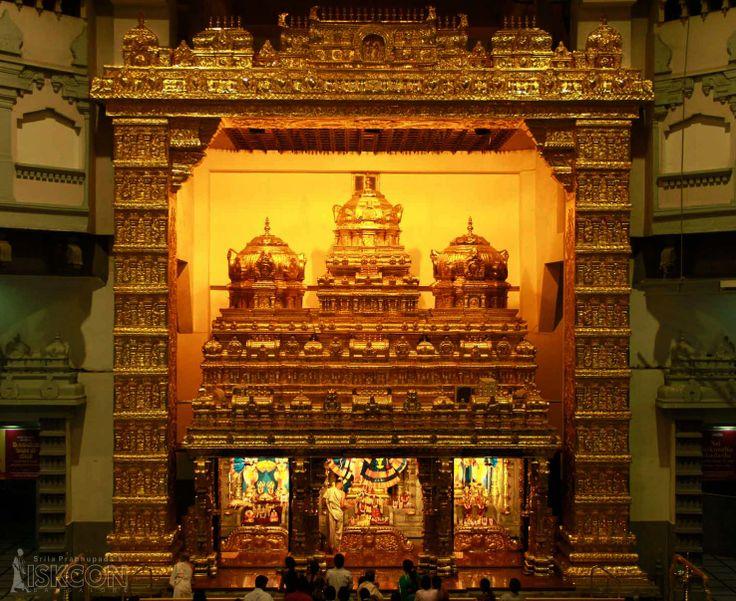 The decoration of the Garbha Griha Mantapa (Arch over the main sanctum sanctorum or altar) with gold plated nakasha design sheets for the grand eve of Sri Vaikunta Ekadashi 2014.