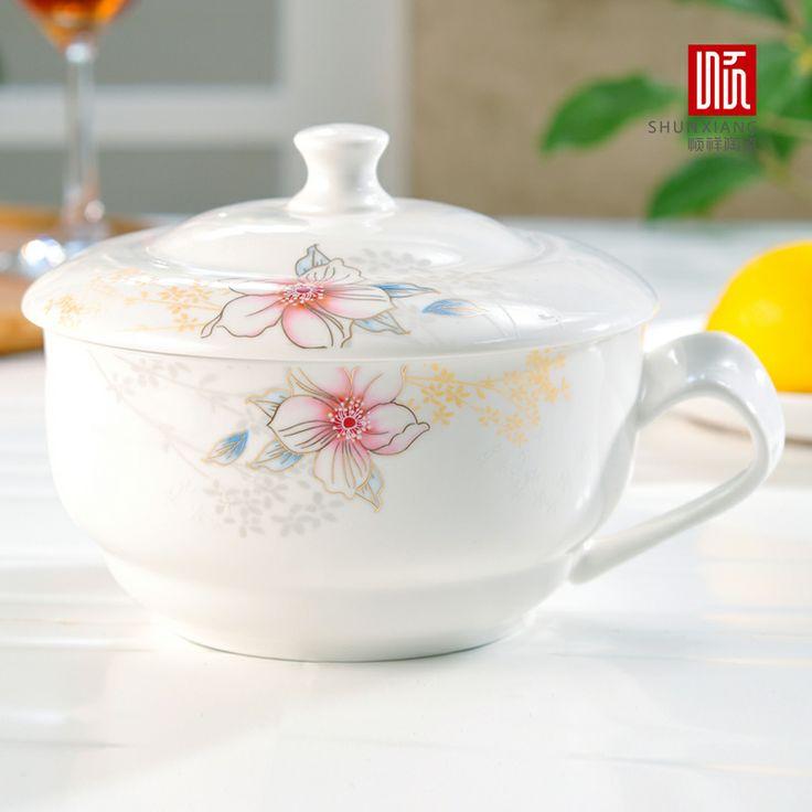ceramica cartoon tazza colazione tagliatelleistanti ciotola microonde scatola di plastica scatola di pranzo stoviglie beiwan con coperchio insieme