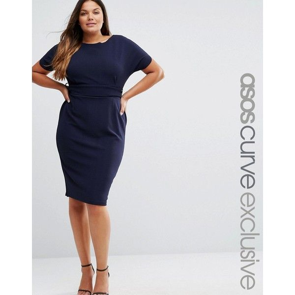 ASOS CURVE Wiggle Dress With Kimono Sleeve And Self Belt (4.030 RUB) ❤ liked on Polyvore featuring dresses, navy, plus size, navy blue dress, slimming dresses, wiggle dress, navy blue midi dress and plus size dresses