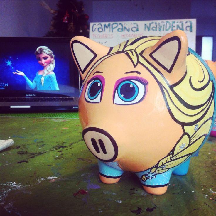 Pintando: Elsa piggy bank | Frozen | Alcancias Daniela Umbert
