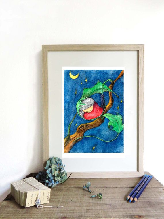Art illustration print A4 original drawing home decor by KusKatStudio #wallart #nursery #decoration #newborn #gift #newbaby #baby #shower #childrens #room #kinderkamer #decoratie #illustration #starry #night #fantasy #cute #three #leaves #moon #stars #sterrenhemel