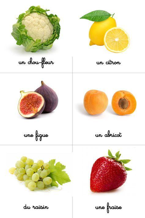 Cartes montessori nomenclature fruits