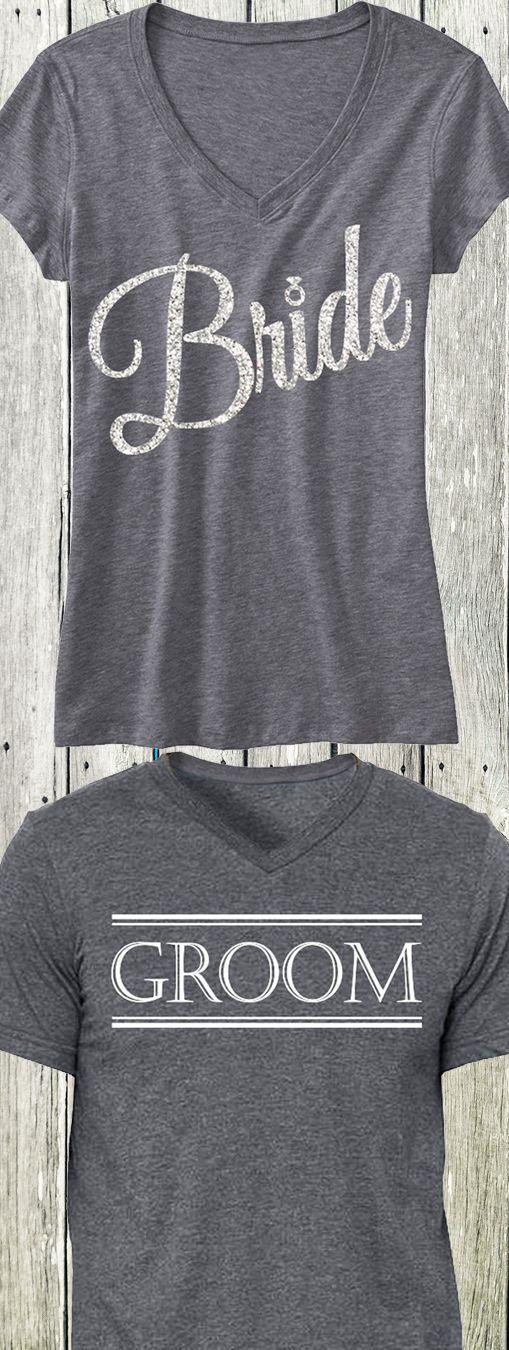 BRIDE Silver Glitter Script Print Shirt + GROOM Shirt, only $44.95 at www.MrsBridalShop...! Click here to buy nobullwoman-appar...
