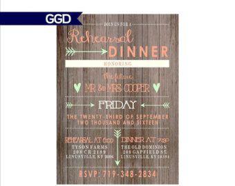 Vintage Wood Rehearsal Dinner Invitation by GoldenGirlDesignz