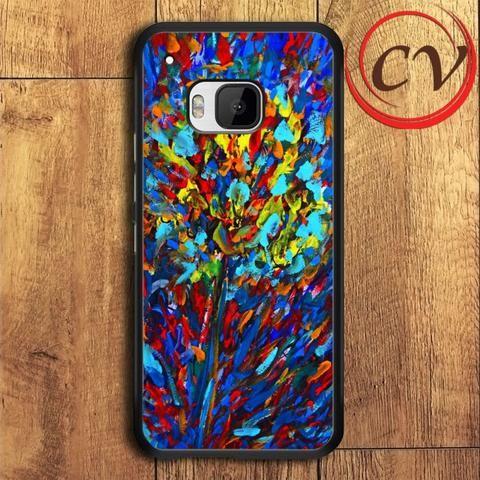 Flower HTC One M9 Plus Black Case