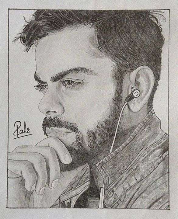 A pencil sketch of virat kohli made by his fan http ift