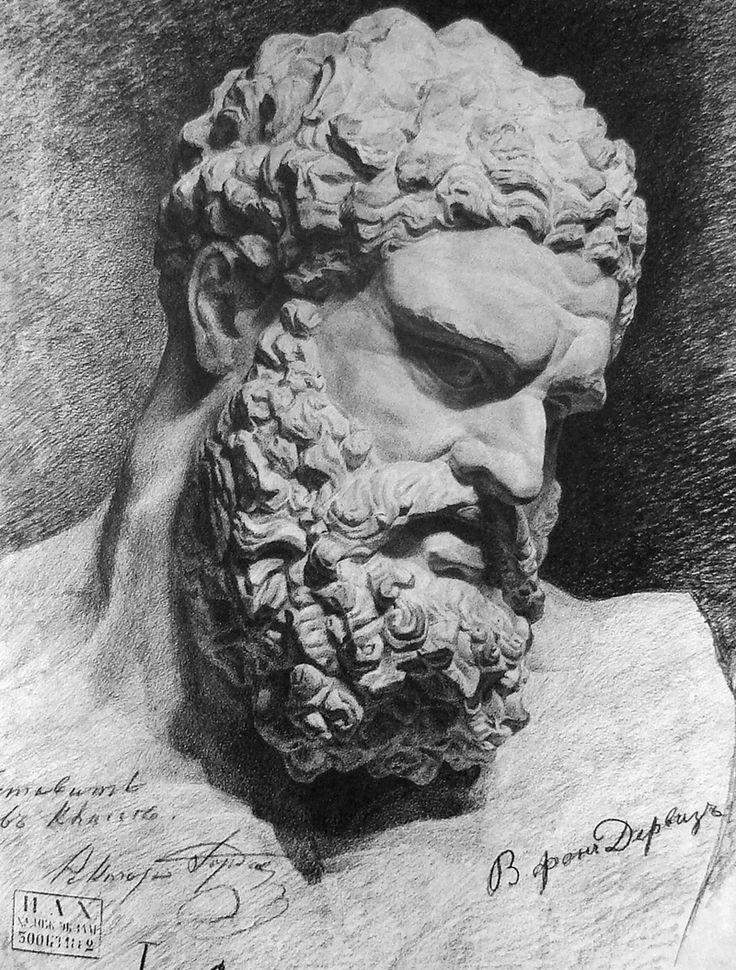 plaster head of Hercules. Repin Academy of Fine Arts