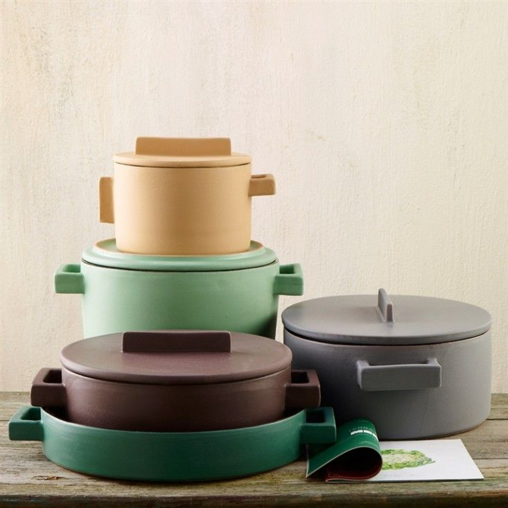 Milanese architect Stefania Vasques's angular terracotta cookware serves up a welcome dollop of color in the kitchen.