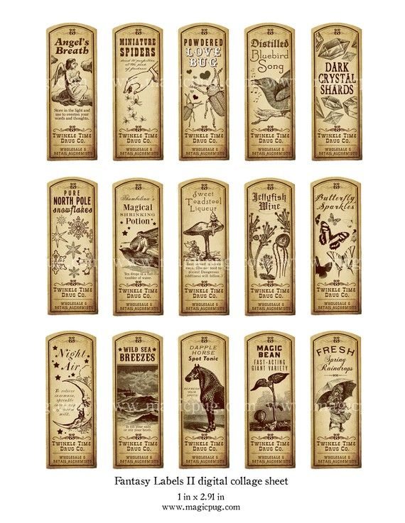 To put on bottles of tinted water, bookmarks or hang tags... Fantasy Magic Potion Labels II digital collage sheet by magicpug, $4.50