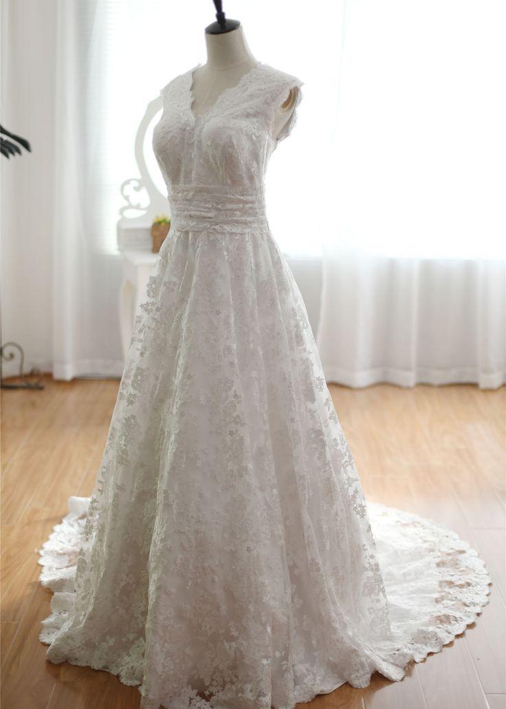 V Neckline Lace Buttons Decorated Back Long Wedding Dress