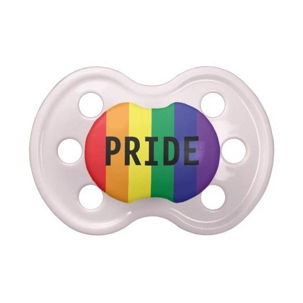 Gay Pride Rainbow Flag Baby Pacifier (60 BRL) ❤ liked on Polyvore featuring baby boy