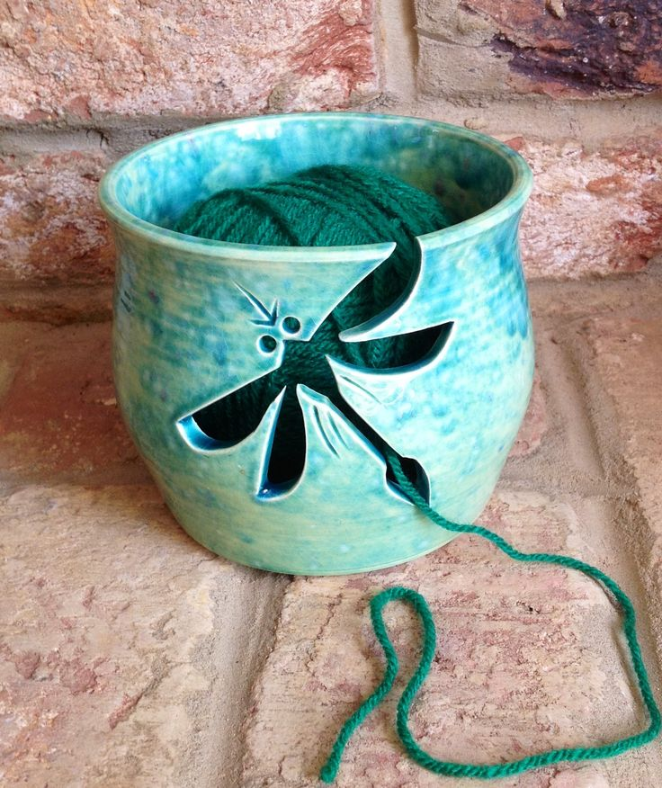 Earth Wool & Fire Yarn Bowl with Dragonfly cut out design.