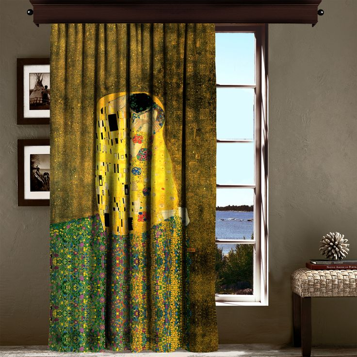 Gustav Klimt - Öpücük Tek Kanat Fon Perde - Fon Perdeler - Cipcici