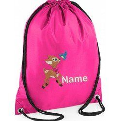 personalised childrens gym bags are embroidered with baby dear image on to  Gym Bag with a personalised name of your choice. #baby #newborn #dance# gymbags #gym #children #kids