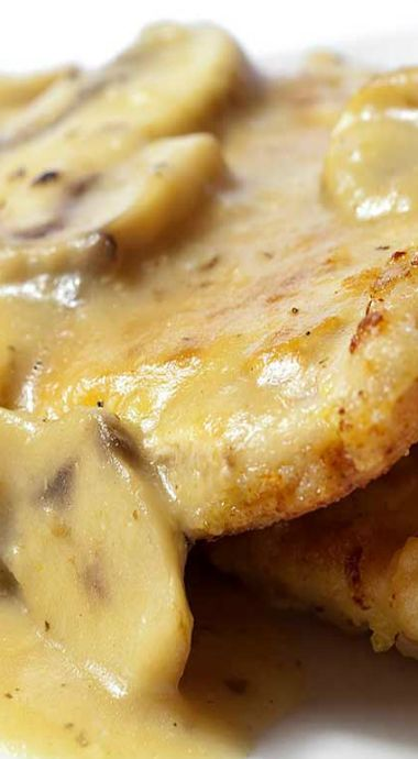 Pan Fried Pork Chops with Mushroom Gravy