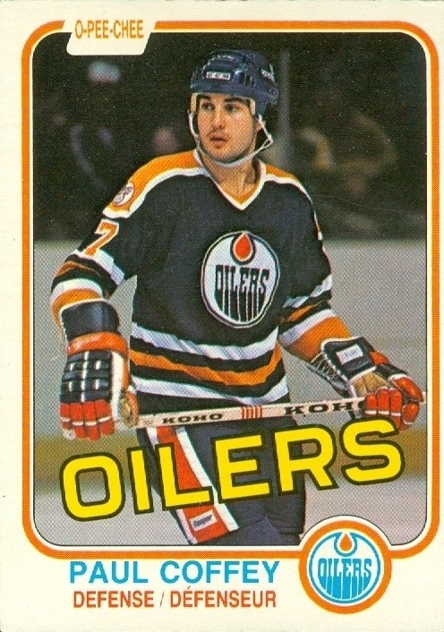 Paul Coffey rookie card. The Oilers were just one of nine teams that Coffey played for over his NHL career. He is one of just 20 to play for nine or more teams.