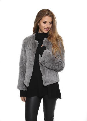 Fur 5 Eight Grey Knitted Rex Rabbit Fur Jacket