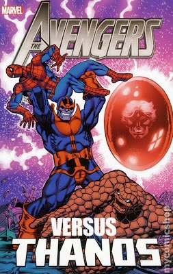 Avengers vs. Thanos cover showing Thanos holding Spider-Man in the air over Thing