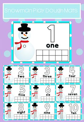Snowmen Number 1-10 Play Dough Mats from Hush-a-bye on TeachersNotebook.com -  - Aid number recognition with these snowmen play dough mats.