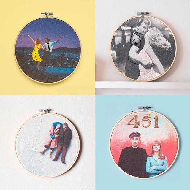 👫 Movie Couples 👫  4 parejas de cine! Tienes una favorita?🙌  Feliz lunes!🎉😊  ------------------------  Four movie couples! Do you have a favorite?🙌  Happy monday!🎉😊  .  #variopinto #embroidery #bordado #stitchersofinstagram #dmcthreads #dmcembroidery