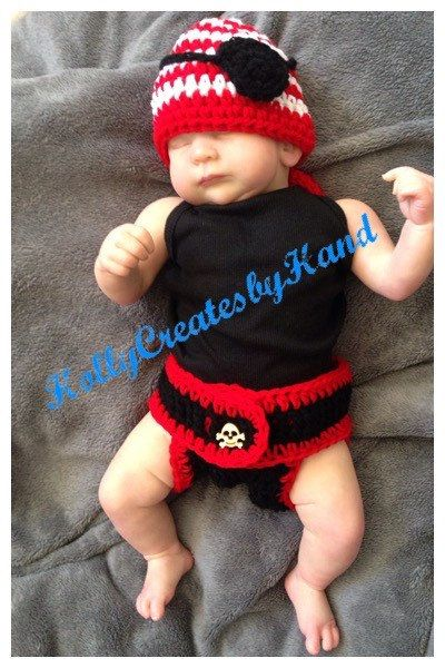 Baby pirate costume crocheted photo prop by HollyCreatesbyHand