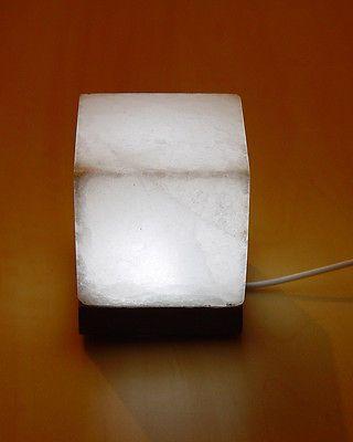 Rock Salt Lamp White Cube Shape USB Himalayan Rock Salt Stone Square LIght