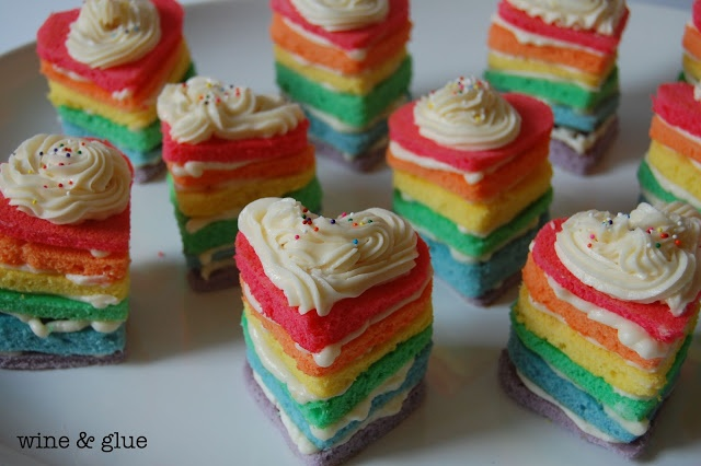 Wine and Glue: Rainbow Heart Cakes & Rainbow Trifle Cups