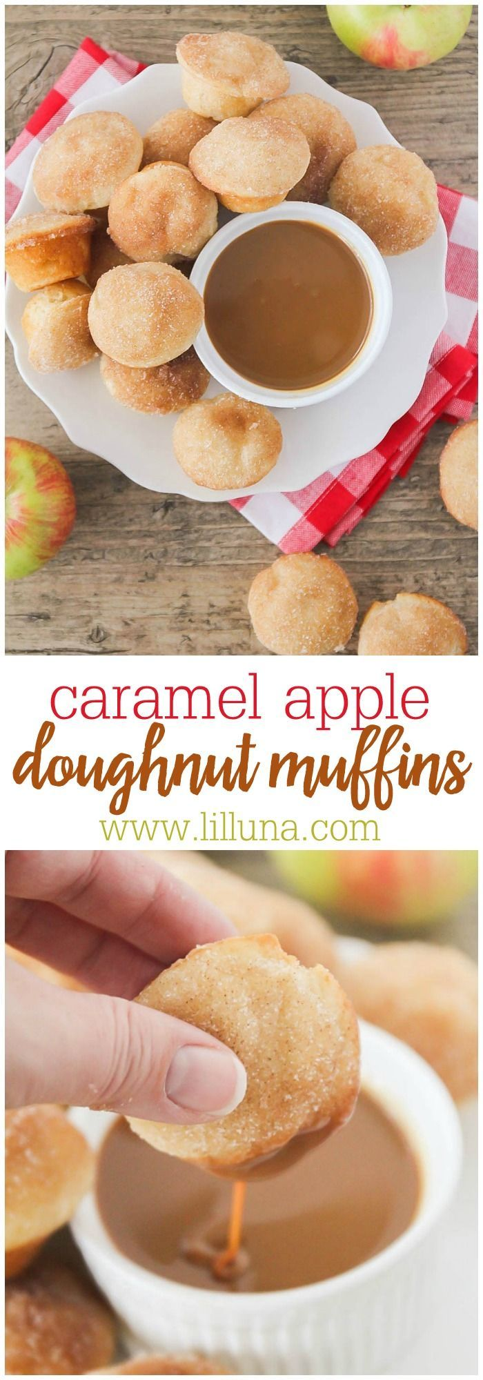 Caramel Apple Doughnut Muffins - The fresh apples in the batter make these muffins deliciously moist and tender, and the cinnamon sugar on top is the perfect complement!!
