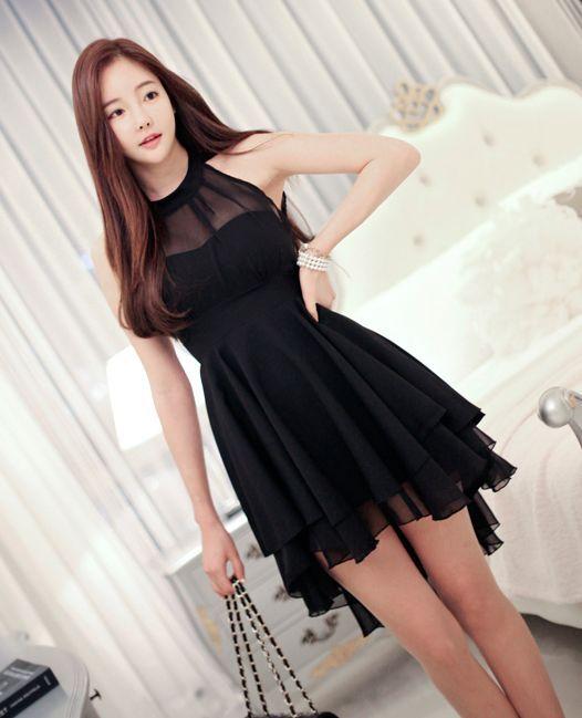 Korean fashion black dress