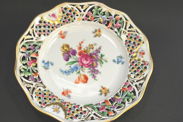 Bavaria Dresden Porcelain Plate White Pink Flowers and Gold  - pinned by pin4etsy.com