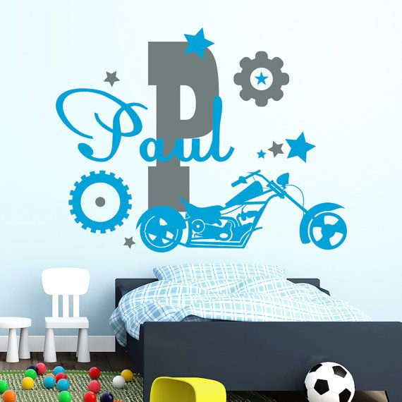 Monogram wall decals personalized custom name sport bike motorcycle decal nursery childrens boy room playroom home decor vinyl stickers murals to view