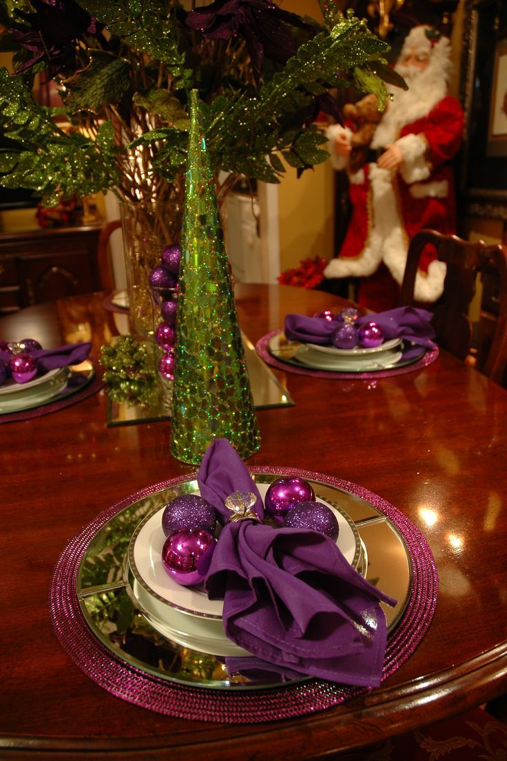 Silver and purple christmas decorations ideas - 34 Gorgeous Christmas Tablescapes And Centerpiece Ideas Christmas Tablescapeschristmas Decorationscentrepiecescenterpiece Ideaspurple
