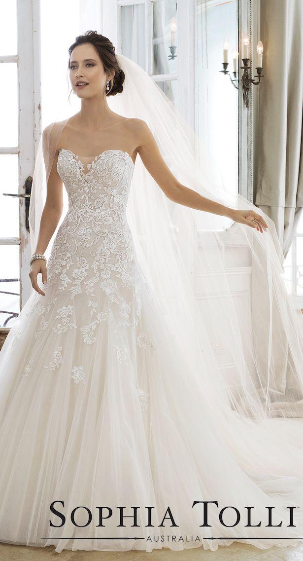Lace Ballgown - Sophia Tolli Wedding Dress Collection Spring 2018 #weddingdresses #weddinggowns #bridaldress #bride #bridal #bridalgown #brides #weddings
