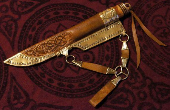 Wikinger Messer Scheide mit Messing Damast Klinge. von RekonShop