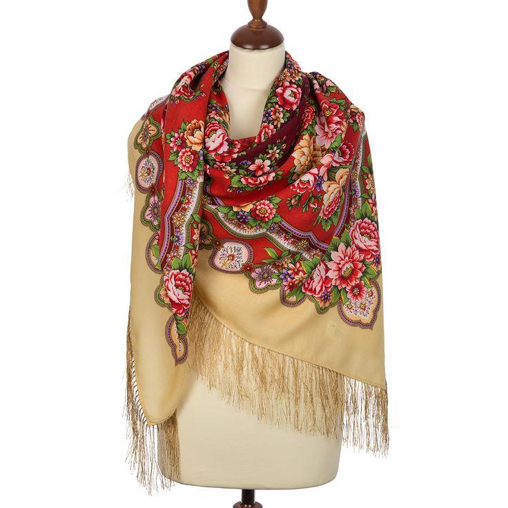 Russian shawl Southern sun 1652-3. Traditional Russian wool shawl, Pavlovo Posad shawl. Free Shipping. Best price guarantee.
