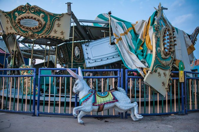 """A look at the familiar and the strange ideas that guided the musical's writers and director.A carousel at the Six Flags amusement park in New Orleans, after being destroyed by Hurricane Katrina. Images of the abandoned park inspired the director of the musical """"Ride the Cyclone."""""""