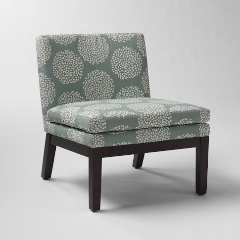 Upholstered Chair from West Elm: Living Rooms, Slippers Chairs, Contemporary Chairs, Patterncontemporari Chairs, Chairs Contemporary, Upholstered Slippers, Accent Chairs, Blue Stones, West Elm