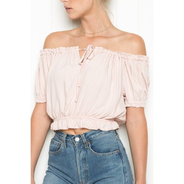 Ezra Top ($25) ❤ liked on Polyvore featuring tops, off the shoulder tops, off shoulder crop top, ruffle crop top, ruffle top and off shoulder tops