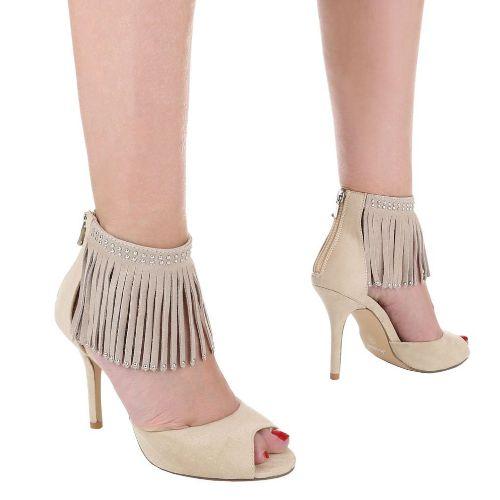 Högklackade skor med fransar