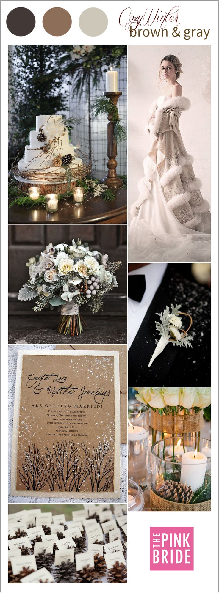 Cozy winter wedding color palette inspiration board with cream, brown, and gray colors | The Pink Bride www.thepinkbride.com