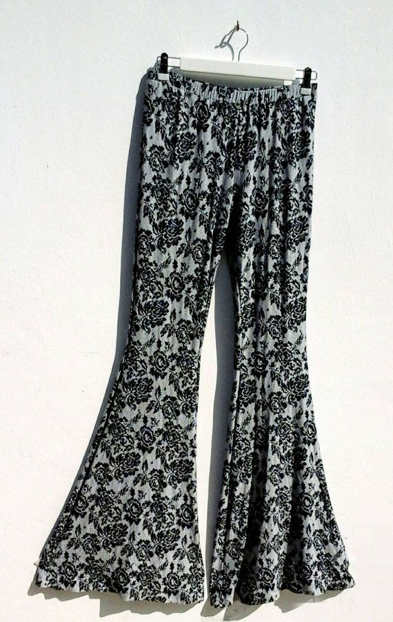 Check out this item in my Etsy shop https://www.etsy.com/listing/225453044/skinny-flare-trousers-lace-printskinny