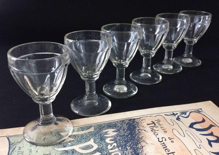Stemmed glasses. French vintage molded liquor glasses 50's clear glass digestive glasses. French Cafe bistro glassware.Blown glass gift by frenchvintagebazaar on Etsy
