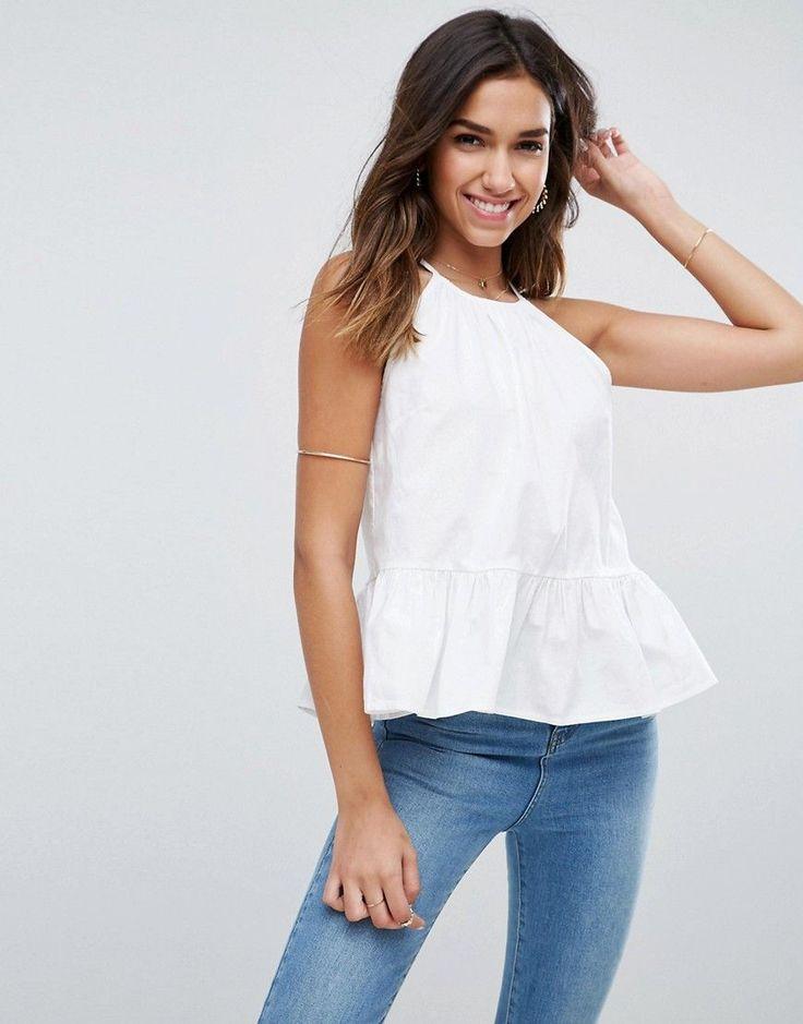 ASOS Trapeze Sun Top in Cotton - White