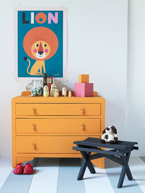 Little Greene Child Safe Paints   Chest Of Drawers   Drawers In Marigold  Stool In Chocolate Colour Walls In Bone China Blue   Pale Building Blocks  In ...