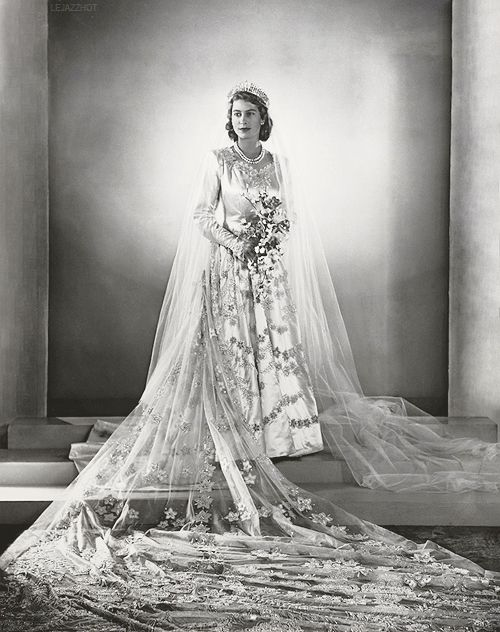 Princess Elizabeth on her wedding day, 1947. I remember it well due to movie news before start of films back then