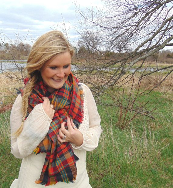 Plaid Blanket Scarf Tartan Plaid Scarf Oversized by JannysGirl
